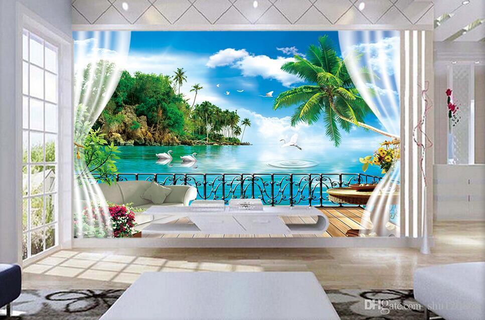 3d Room Wallpaer Custom Mural Photo Outside The Window Coconut Island Ocean Scenery Painting 3d Wall Murals Wallpaper For Walls 3 D Wallpaperss
