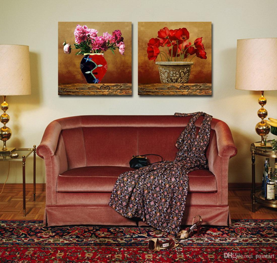 Hermosa pintura de la flor contemporánea impresión giclée sobre lienzo Home Art decoración de la pared Set20039