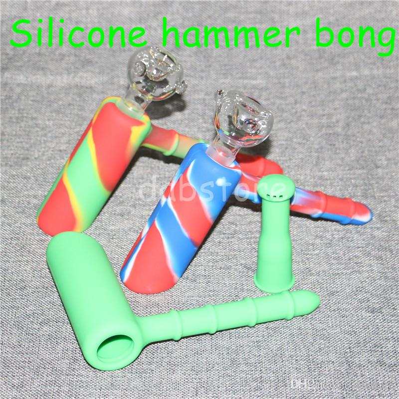 5 pcs Marteau Voyage Mini Bongs Le Martien En Silicone Blunt Bong Bubbler Joint De Fumée Bubble Petit Pipe À Eau En Silicone Nectar Collector DHL
