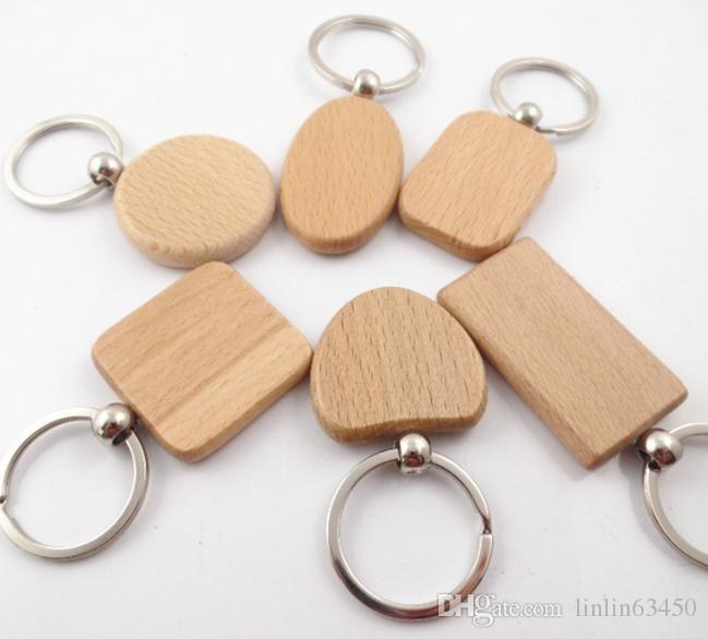 Porte-clés personnalisé en bois blanc avec des formes géométriques de porte-clés pouvant être gravé avec logo