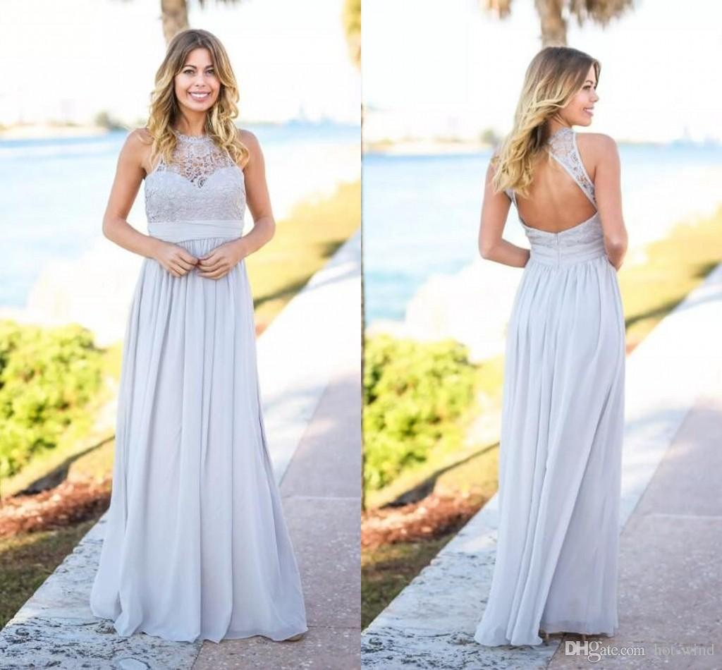 Silver Country Rustic 2020 Cheap Bridesmaid Dresses Sleeveless Open Back Floor Length Chiffon Maids Of Honor Gowns Wedding Guest Wear Long Chiffon Bridesmaid Dresses Long Lace Bridesmaid Dresses From Hot Wind 45 07