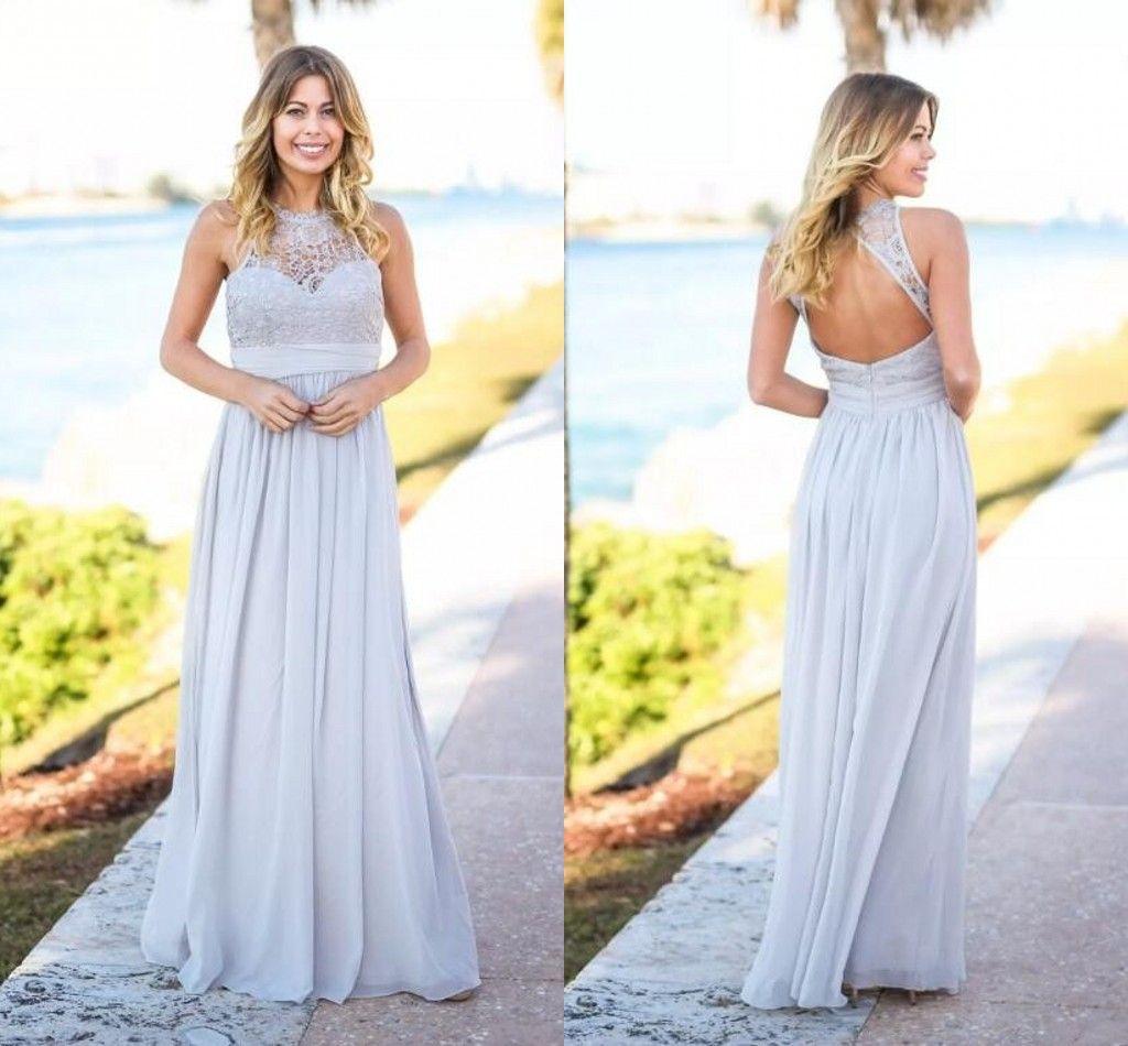 Silberland Rustikale 2020 billige Brautjungfer Kleider ärmellos offener bodenlangen chiffon nervoiren der ehren kleider hochzeit gäste tragen
