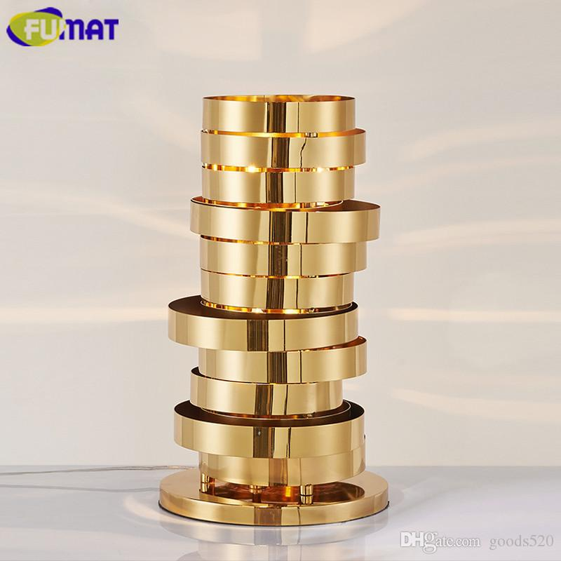 FUMAT Ring-shaped Table Lamps Gold Stainless Steel Bedroom Bedside Light Modern Living Room Hotel Club Study Desk Lamps
