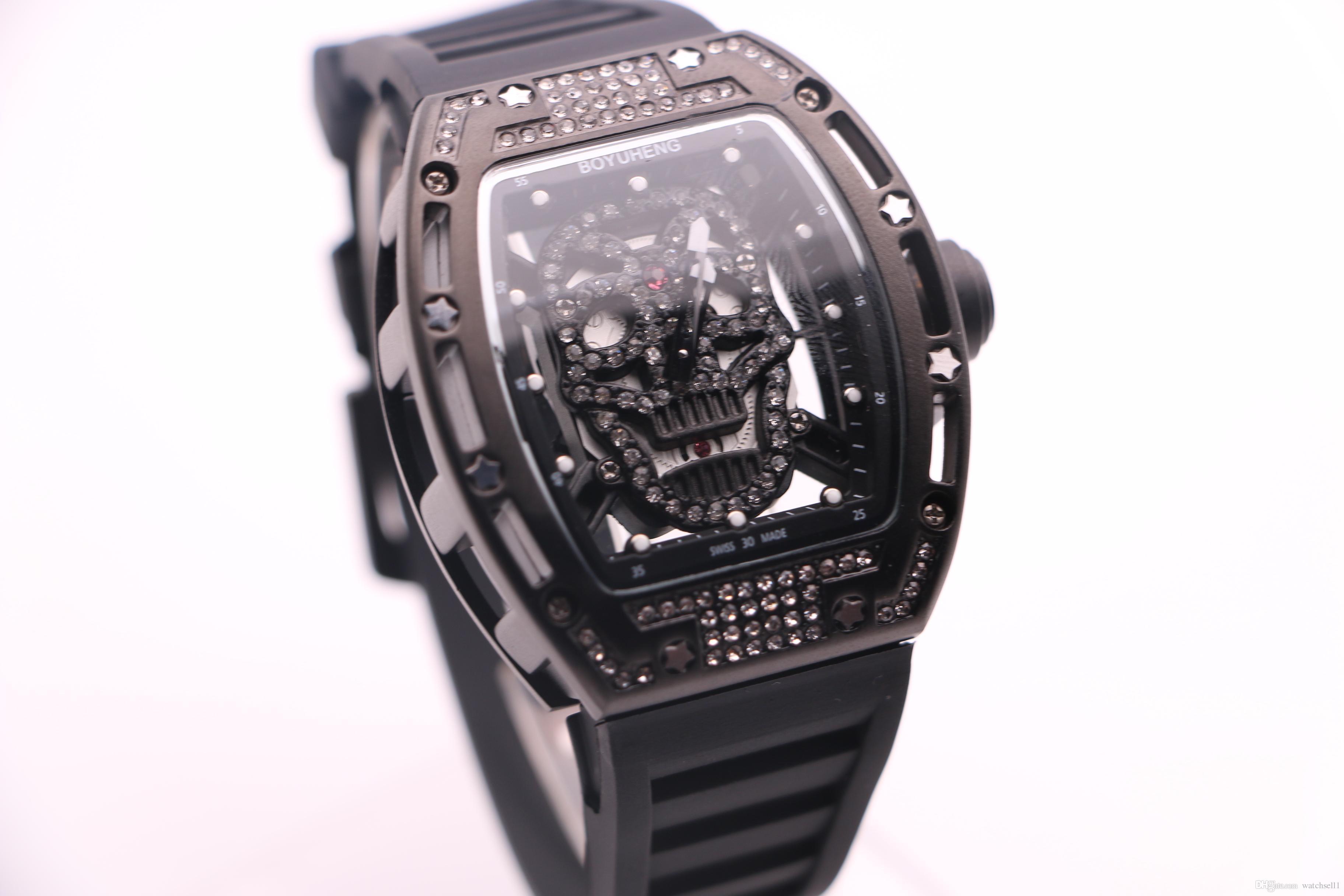 BOYUHENG 052 man watch black skull dial man's black rubber black steel case quartz diamond watch