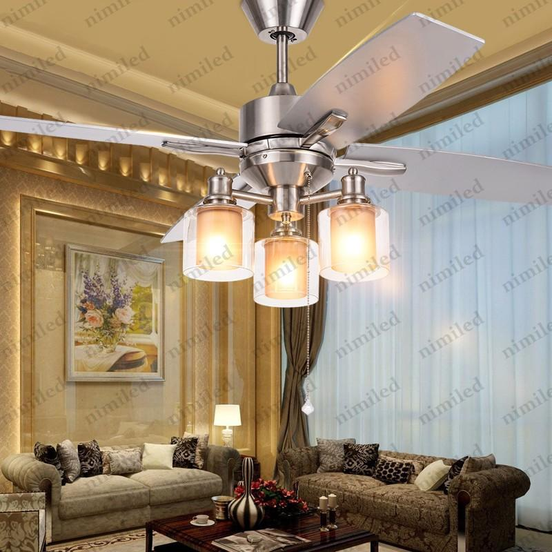 48 Candelabro Ventiladores Madera Compre De Lámpara Dormitorio LED Lámparas Techo 15 Retro Cm Nimi835 Iluminación Restaurante 122 Vidrio De De W 7g6fyYb