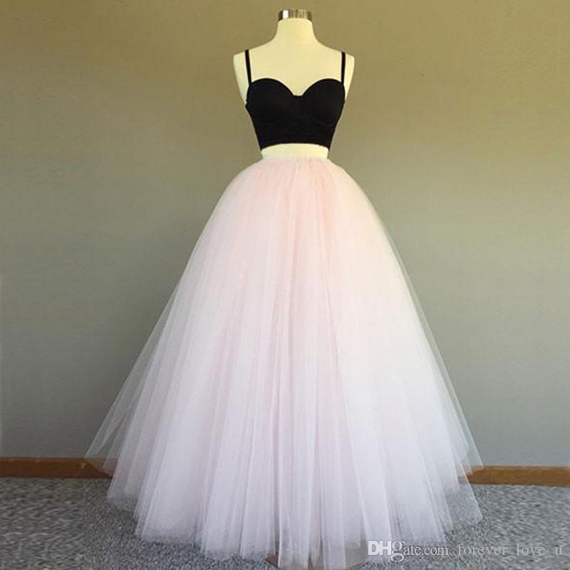 Tanie dwa kawałki Prom Dresses Długie Formalne Vestido Festy Spaghetti Paski Czarny Crop Top Blush Pink Tulle Party Party Suknie Niestandardowe