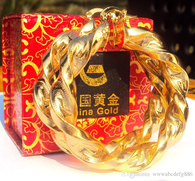 Boucles d'oreilles en or jaune 18 carats grandes courbes larges Hip-Hop lourd gros cadeau 100% vrai or, pas solide pas d'argent.