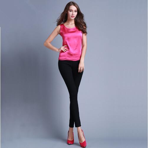 a5eb054d897f Womens Summer Silk Tank Tops Ladies Blouses Mesh Cute Sleeveless Solid  Color O Neck Casual Debardeur
