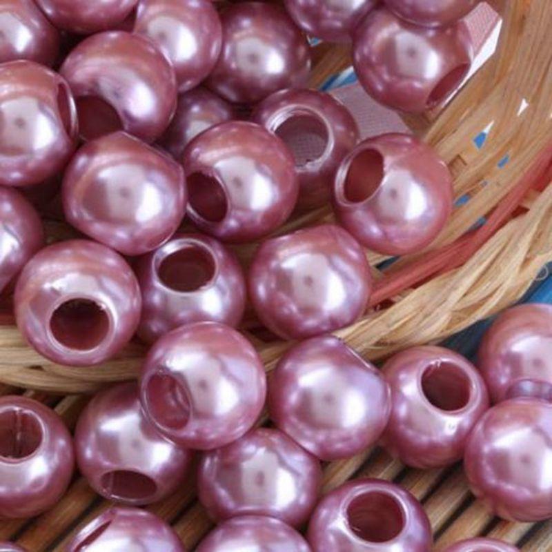 100PCS schöne Rose Pink PImitation Perle Charms für Schmuck machen lose europäischen großen Loch Acryl Perlen passen europäischen Armband niedrigen Preis