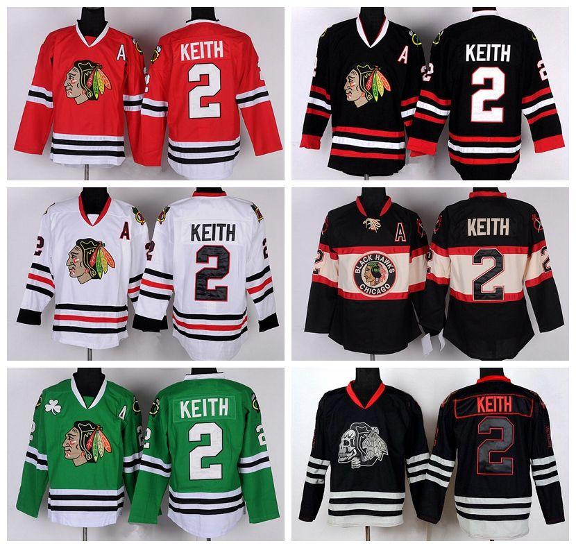 Eishockey 2 Chicago Blackhawks Duncan Keith Trikots Stadion Serie Winter Classic Black Ice Skull Rot Weiß Grün Lila