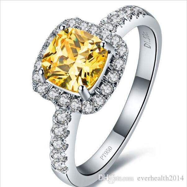 3 카 라트 공주 쿠션 모양 옐로우 소나 합성 다이아몬드 약혼 반지 A-OK 신부 쥬얼리 선물 화이트 골드 백금
