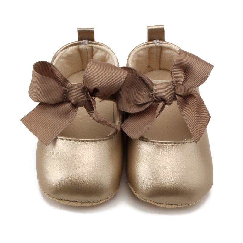 Criança Bebê Menina Primavera Criança Bebê Menina PU Princesa Doce Fita Bowknot Sapatos Infantis Macio Anti-skid Prewalker