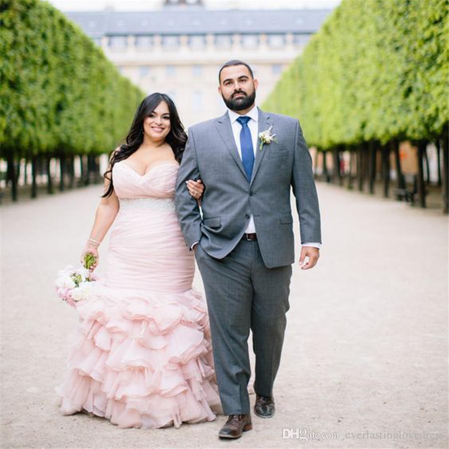 Großhandel Plus Size Blush Pink Brautkleider Perlen Chic Lange ...