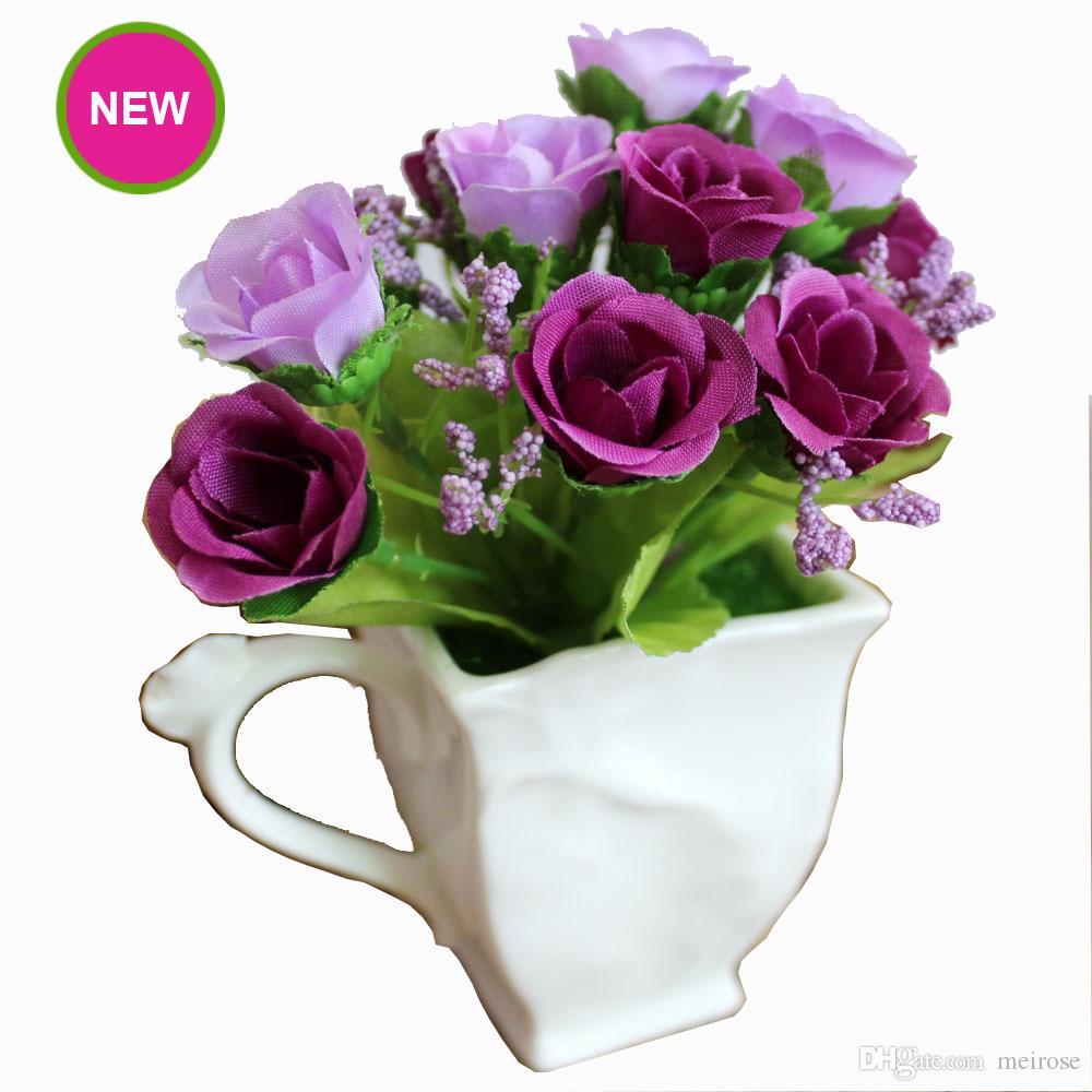 Vaso Con Ortensie Finte acquista nuovo fiore artificiale con vaso in ceramica foglie verdi di seta  finte colorate il compleanno ringraziamento festa del papà decorazione la