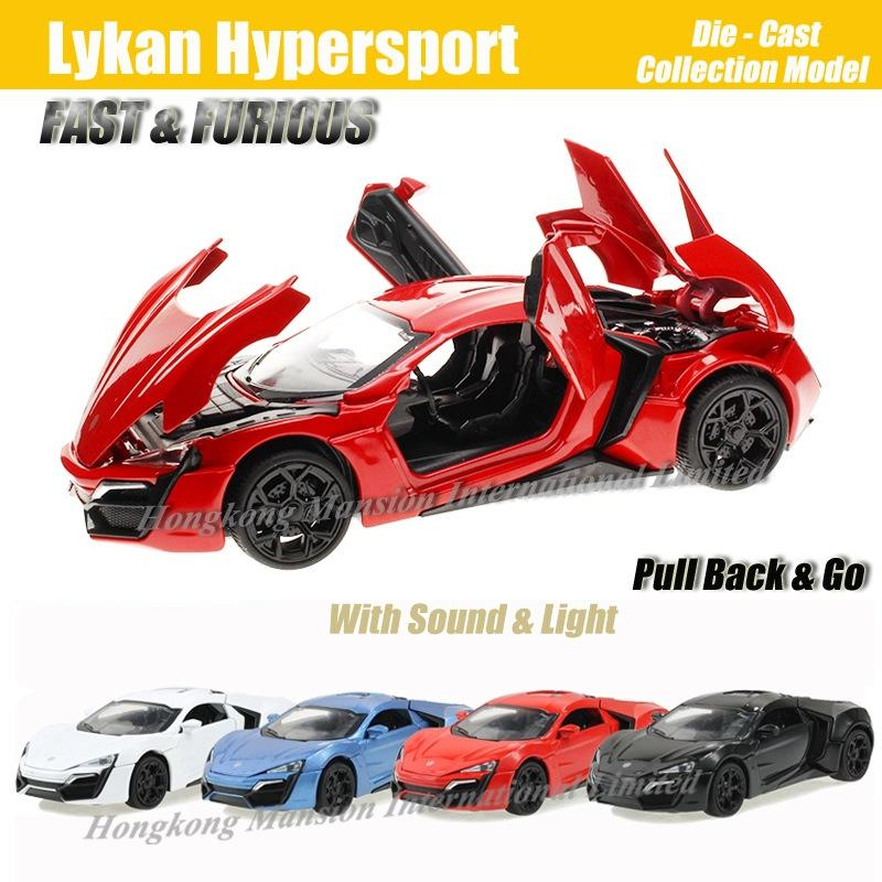 1:32 Escala Diecast Metal de Aleación de Lujo Super Modelo de Coche Deportivo Para Lykan Hypersport Para FASTFURIOUS Colección Modelo Juguetes de Coche