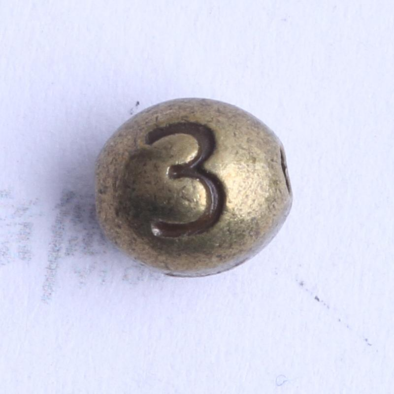Numéro 3 perles ovales charme antique argent / bronze en alliage de zinc pour pendentif bricolage fabrication de bijoux accessoires 100pcs 2441
