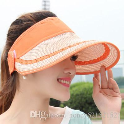 Women's summer outdoor foldable visor cap big brim straw hat travel sports volleyball baseball playing sunscreen hat snapbacks peaked cap