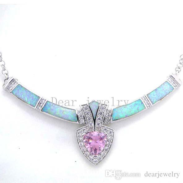 Colar de jóias de moda opala azul opala de fogo jóias de prata galvanizado ródio DR03011703N bege OPAL rosa frete grátis
