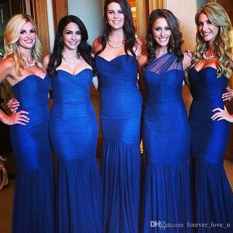 Vestidos de dama de honor por encargo azul real Vestidos de dama de honor de sirena un hombro acanalada Tulle Vestido de dama de honor de alta calidad barato dama de honor