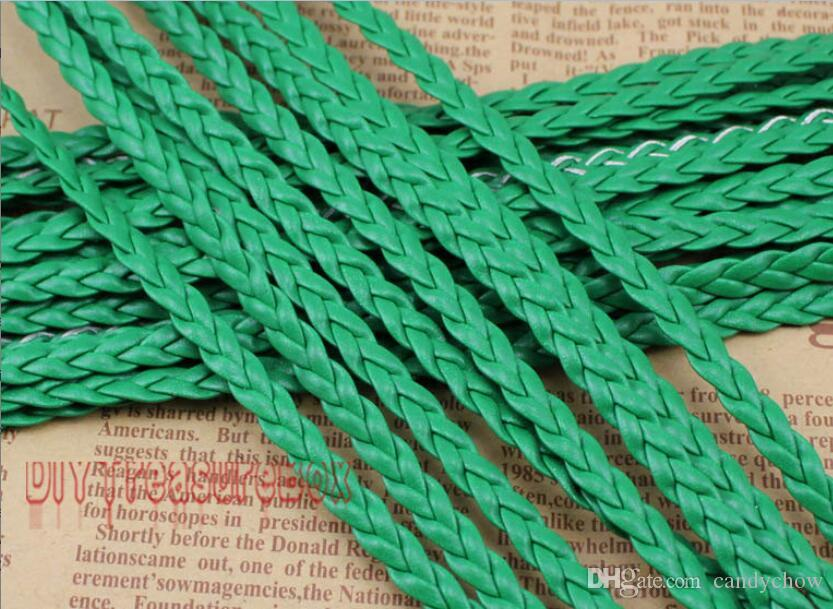 Livraison gratuite 100 mètres vert plat corde tressée en corde de corde en cuir, chaîne de perles de bijoux, pour collier de bracelet, 5 mm de large