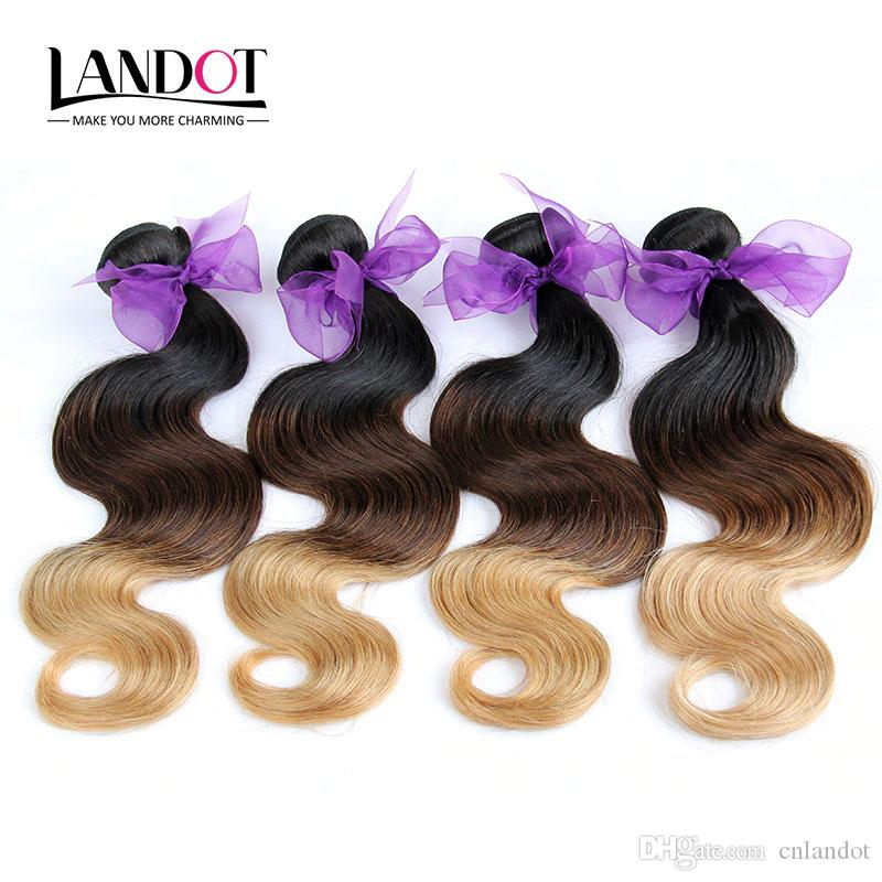3Pcs Lot 8-30Inch Three Toned Ombre Eurasian Human Hair Extensions Body Wave Wavy 1B-4-27 Black Brown Blonde Ombre Virgin Hair Weave Bundles