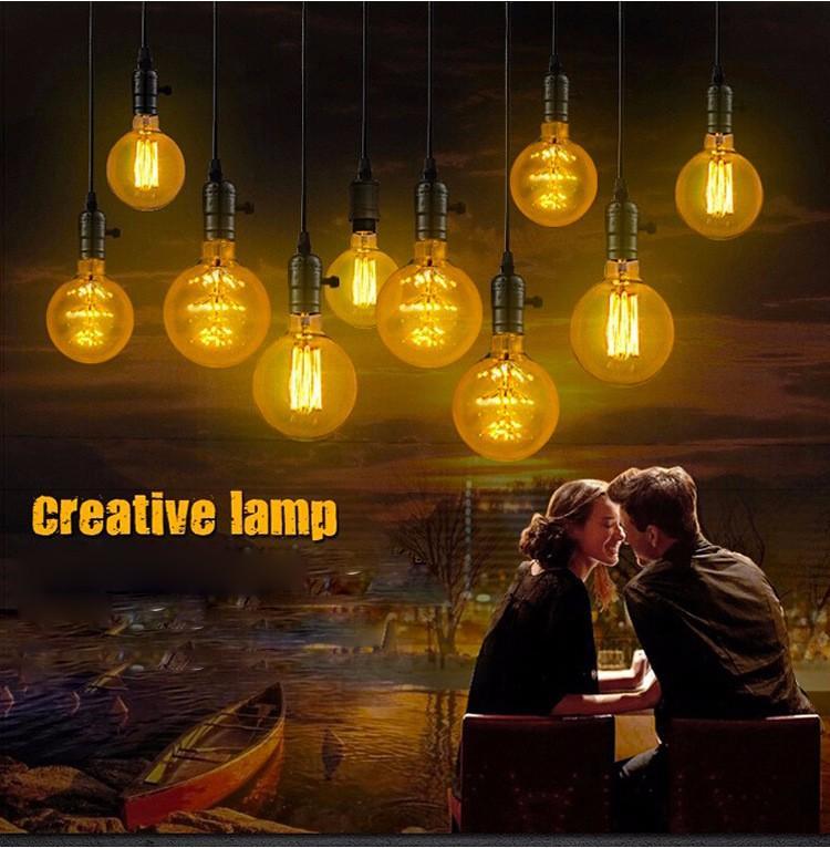 Vintage G80 LED Edison Filament Light Bulb E27 220V Ampolletas Led Light for Home Clear Glass incandescent Warm Yellow Bulb Lamp (4)