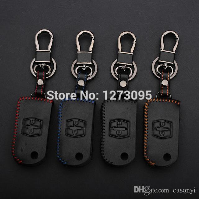 Costurado mão Couro chave do carro caso capa para Mazda 3 5 6 8 Mazda 323 CX-7 CX-9 2 Botões Folding Key Keychain Acessório