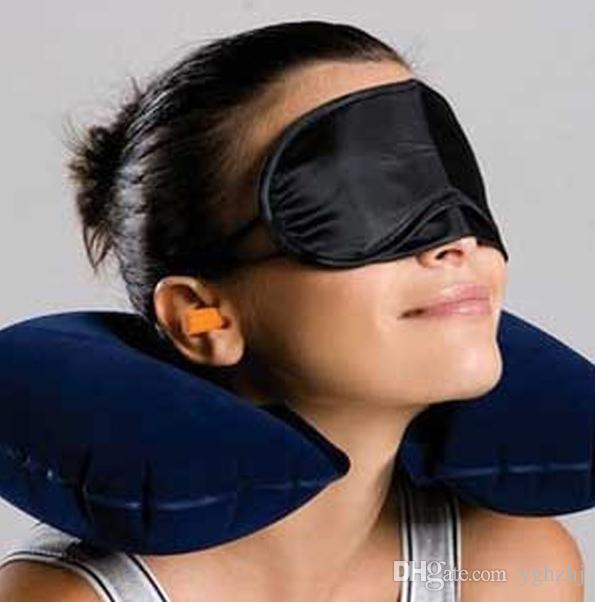 Vente en gros 3in1 Bureau Voyage Set Coussin gonflable en forme de U Neck Pillow + Sleeping Masque pour les yeux Eyeshade + Bouchons d'oreilles, Opp Emballage