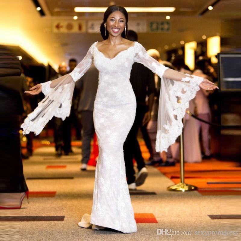 Dentelle sirène beach robes de mariée 2018 trompette d'été manches longues robes de mariée balayer train vestidios bon marché