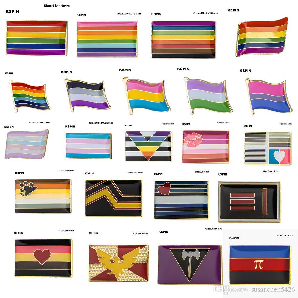 Gay Pride Intersex Pride Fierté Asexuée Bisexuelle Pansexuelle Genderqueer Transgenre insigne de badge 10pcs beaucoup livraison gratuite