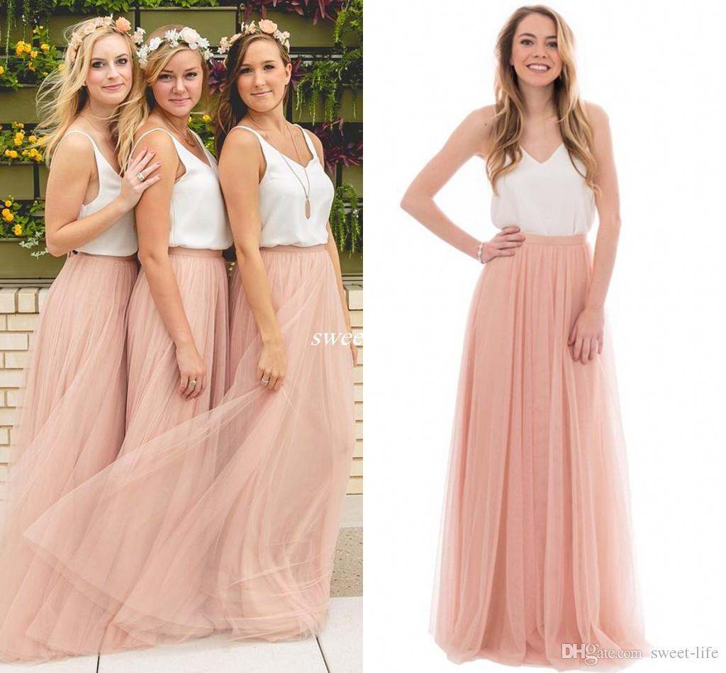 Two Tone Country Wedding Boho Bridesmaid Dresses Tulle V Neck 2019 Cheap Long Party Prom Gowns Plus Size Maid of Honor Dresses