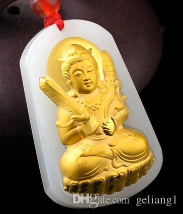 Счастливое золото инкрустированный нефритовый кулон с пустоты Тибет бодхисаттва (очарование). Кулон ожерелье.