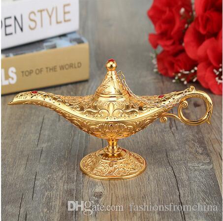 El más nuevo Metal tallado Aladdin Lámpara Luz Deseando Tea Tea Pot Decoración Coleccionable Ahorro Colección Artes Artesanía Regalo