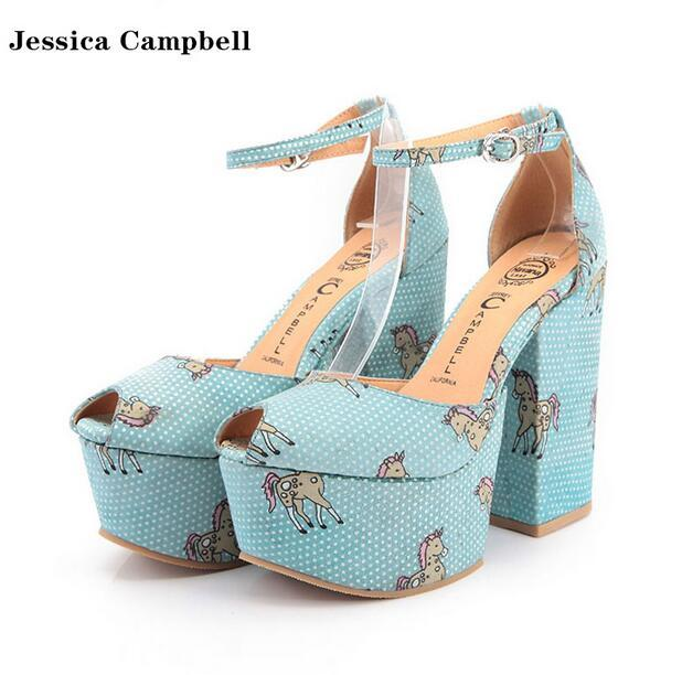 Fashion As Jeffrey Campbell Unicorn Chunky Platform Heel Sandals Jessica Campbell Wedge Peep Toe Ankle Strap Gladiator Sandals Women Shoe