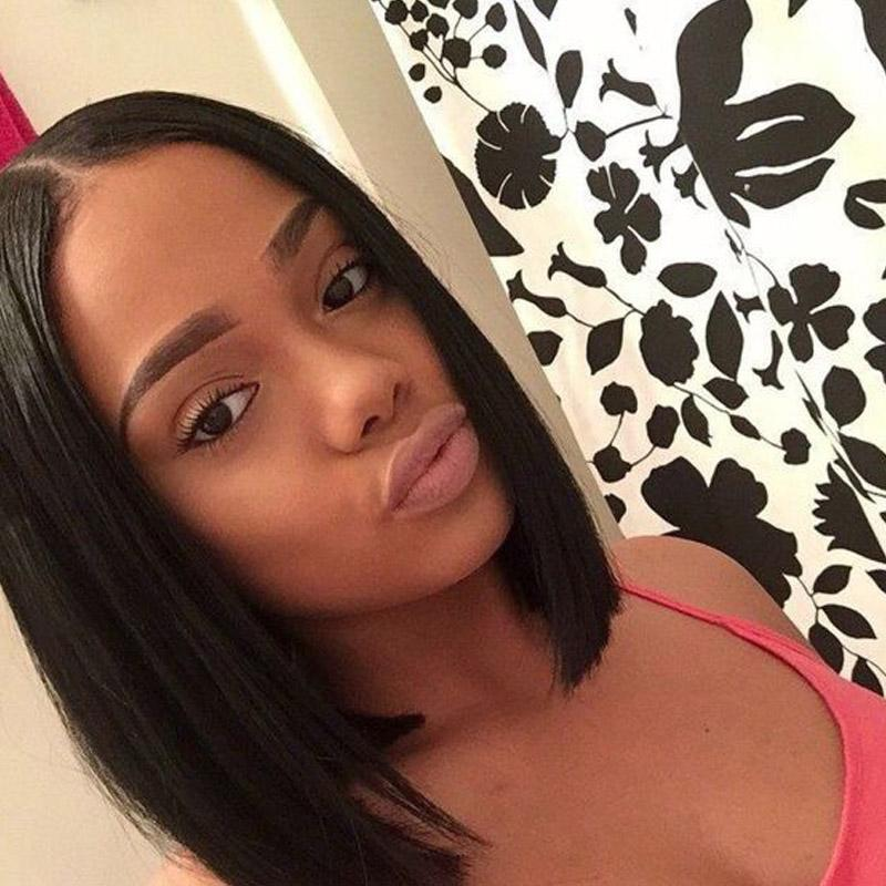 Human Hair Lace Wigs Peruvian Hair Lace Front Wigs For Black Women Medium Cap Straight Bob Middle Part Natural Color Bellahair