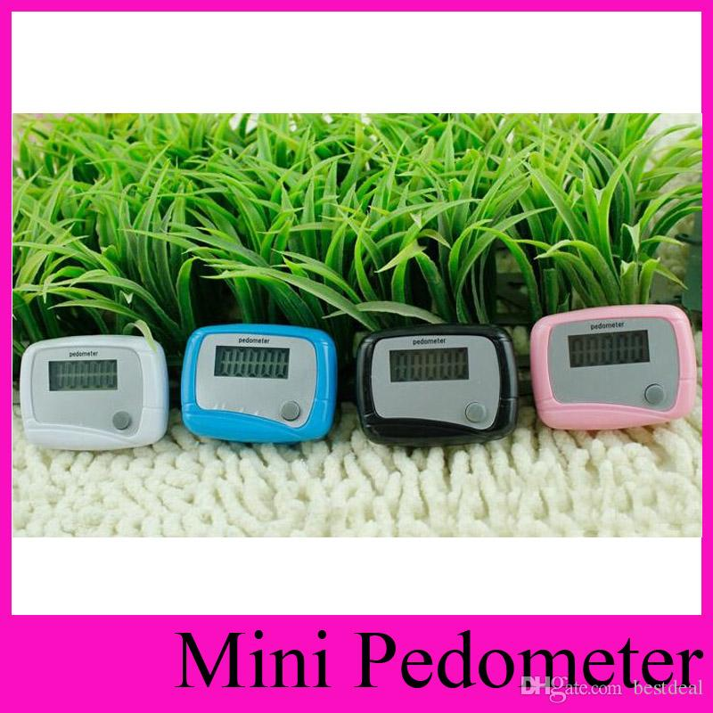 Ventas calientes 4 colores Nuevo Mini LCD Podómetro Calorías Delicadas Walking Walking Calculation Contador Digital para la salud