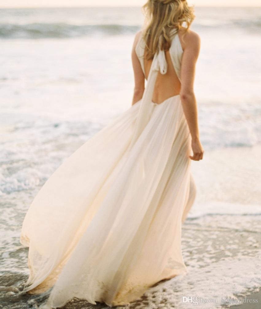 989621576f Sexy Ivory Beach Wedding Dress Dropped Waist Open Back Bridal Gowns Chiffon  Pleated Halter Bride Dresses Summer Autumn Simple Greek Style