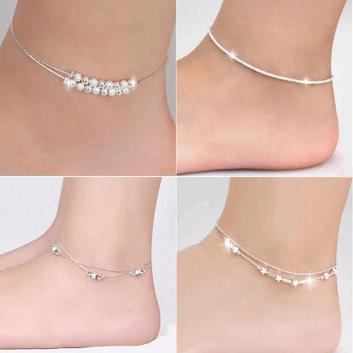 Top Grade Silver Anklet Bracelet Hot Sale Fashion Link Chain Anklets For Women Girl Foot Bracelets Jewelry Wholesale Free Shipping 0343WH
