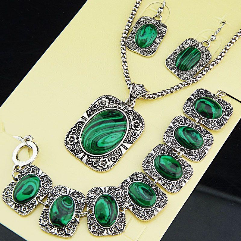 Moda Sorte conjuntos de jóias 3pcs / set Vintage brinco de prata antigo Malaquita colar brincos pulseira Mulheres Set Jóias para Mãe Feminino