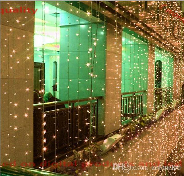 führte Vorhangfee-Schnurlicht 8 * 3m / 8 * 4m 800 / 1024LEDs ultra helle LED-Schnur für Feiertags-Dekoration weißes warmes Weiß mit Adapter