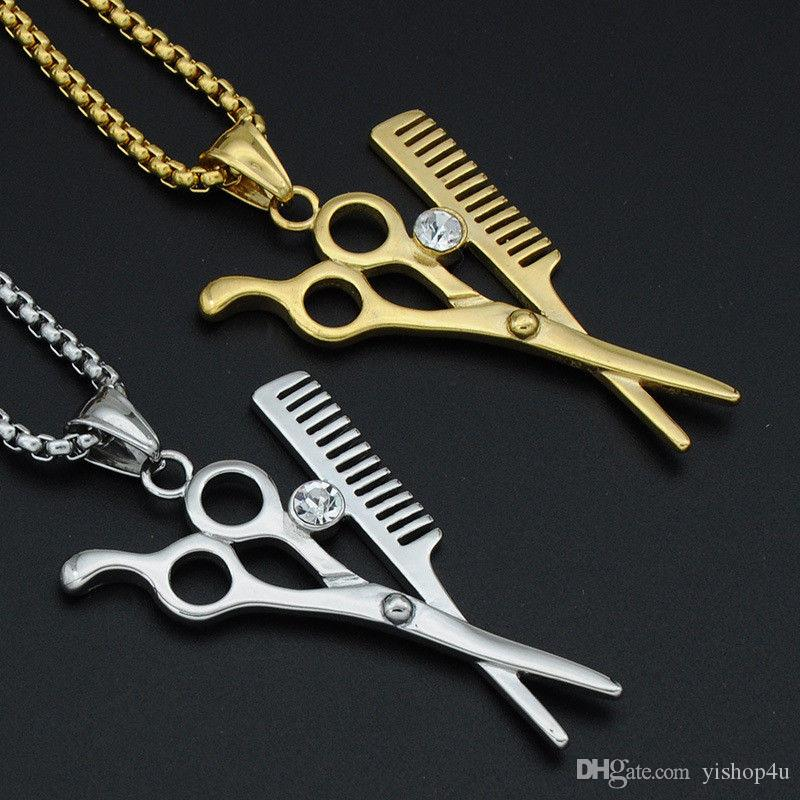 Hip Hop Necklace Gold Plated Scissors Comb Barber Razor Blade Iced Out Pendant Round Box Chain 60cm