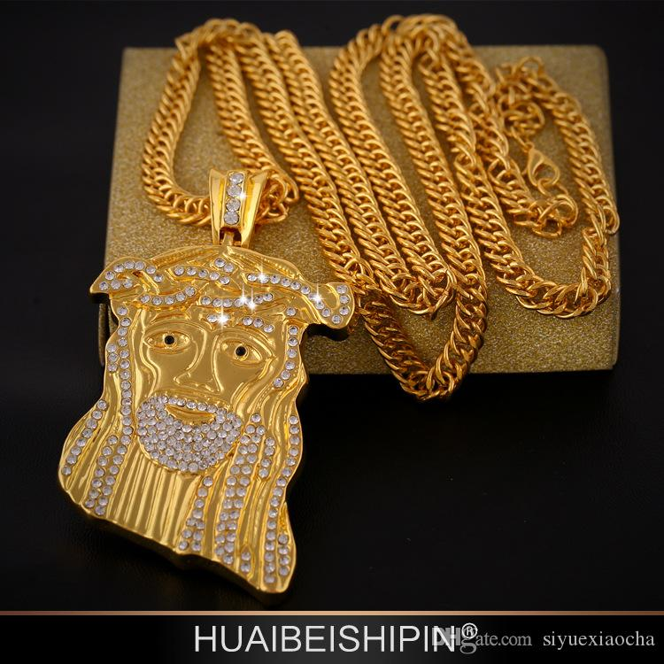 Hip Hop JESUS Christ Pendant Necklace With Corn Chain 24K Gold Plated and diamond, hign quality and free shipping