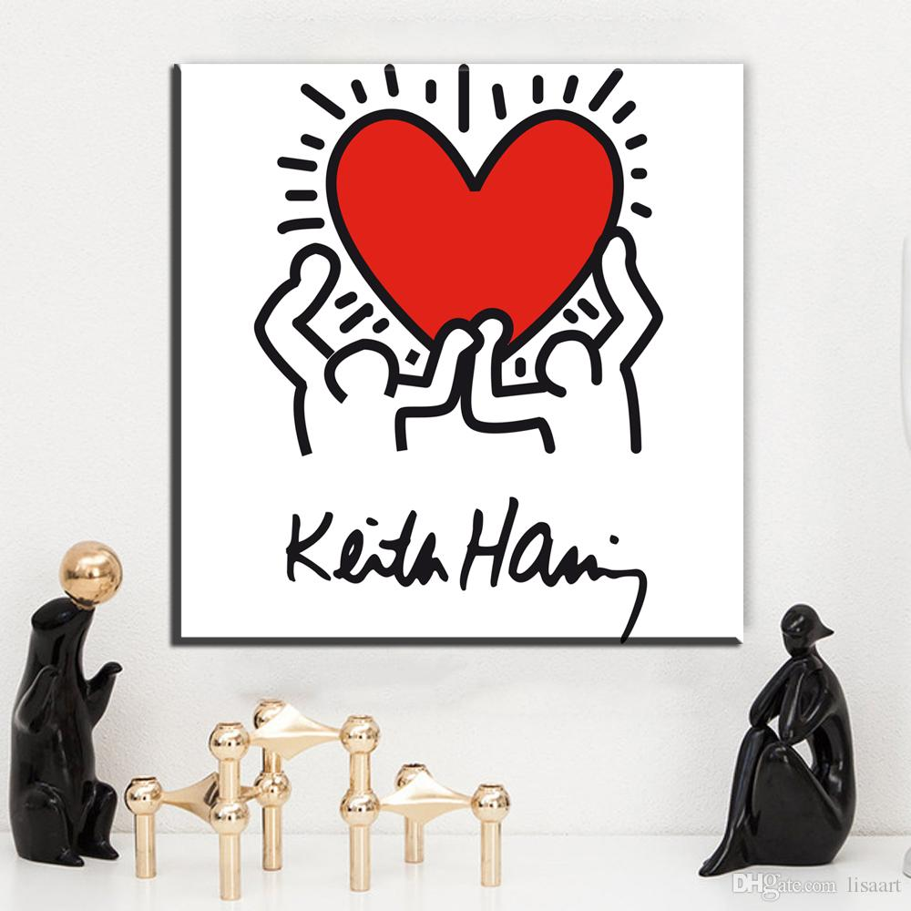 ZZ1369 modern abstract canvas art keith haring canvas oil art painting wall pictures for livingroom bedroom decorations unfrfame