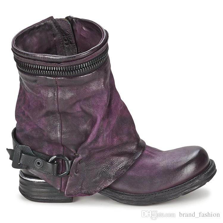 Genuine Leather Stivali da equitazione Vintage inverno Donne Stivaletti Outdoor Fashion Moto Stivali Breve Booties europea Donna