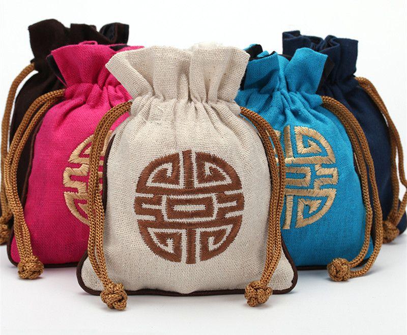 Etnisch Klein Katoen Linnen Sieraden Pouch Trekkoord Chinese Stijl Borduurwerk Lucky Gift Verpakking Lege Thee Candy Bag Bruiloft Gunst 10pcs / lot