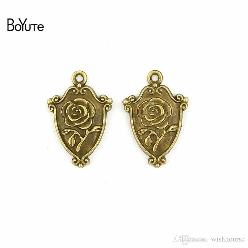 BoYuTe (60 Pieces/Lot) 16*24MM 2 Colors Zinc Alloy Vintage Zinc Alloy Rose Charms Shield Flower Pendants for Diy Jewelry Making Findings