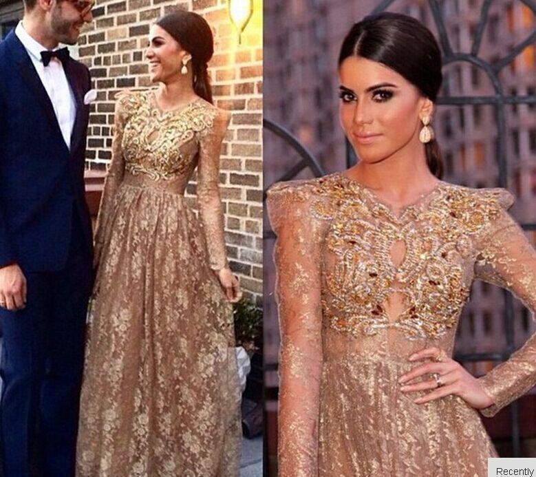 Abiti da sera in pizzo color oro con applicazioni a maniche lunghe per abiti da ballo 2016 Dubai Arab Prom Gowns