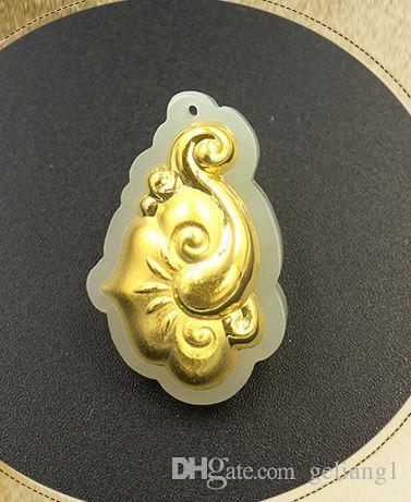 Altın kakma yeşim şanslı kolye ruyi kolye ve kolye (at)