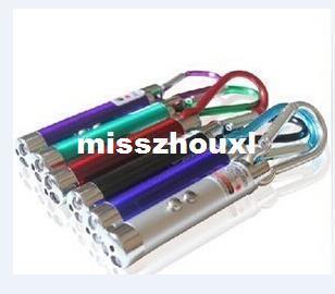 3 In 1 Laser Pointer Pen LED Flashlight Light Ultraviolet UV Keychain Torch