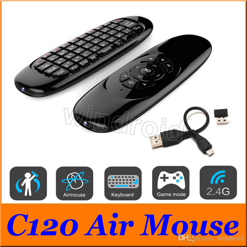 C120 Fly Air Mouse Mini Wireless QWERTY Keyboard Remote Control Game Controller For Android TV Set Top Box Mini PC 6 Gyroscope Q3 30 DHL